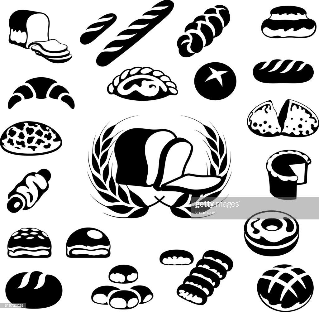Pâtisseries, pain et boulangerie icônes : Illustration
