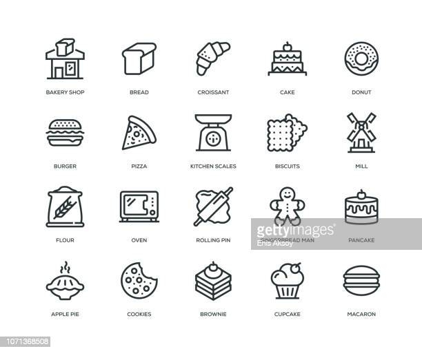bakery icons - line series - pastry dough stock illustrations, clip art, cartoons, & icons