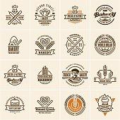 bakery icons set, bakery labels