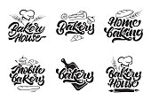 Bakery icontypes. Bakery house, home baking, mobile bakery icons in lettering style. Vector illustration.