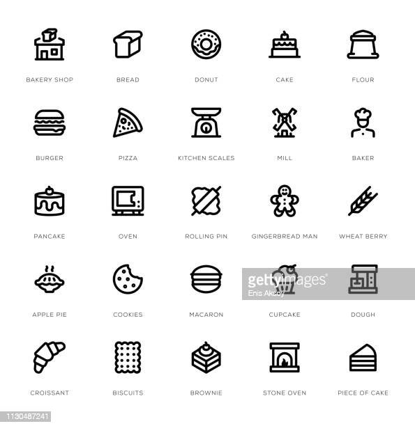 bakery line icon set - brownie stock illustrations, clip art, cartoons, & icons