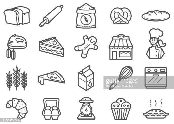 bakery line icons set - apple pie stock illustrations