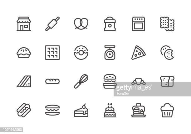 bakery - line icons - sweet bun stock illustrations, clip art, cartoons, & icons