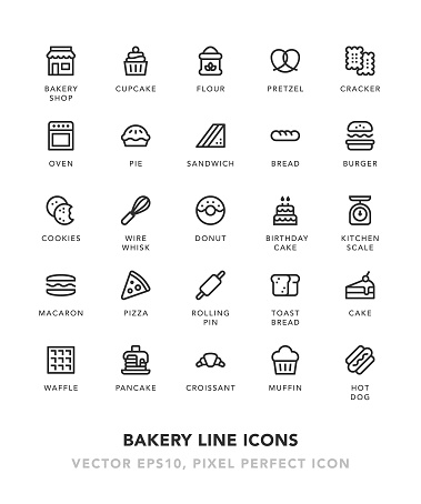Bakery Line Icons - gettyimageskorea