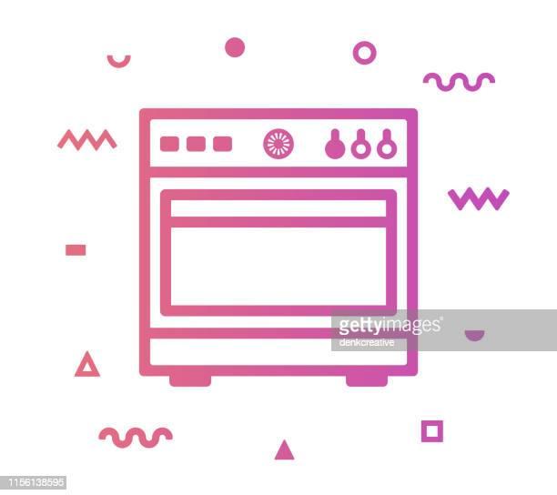 ベーカリーラインスタイルアイコンデザイン - オーブン点のイラスト素材/クリップアート素材/マンガ素材/アイコン素材