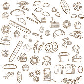 Bakery, pastry and confectionery sketches