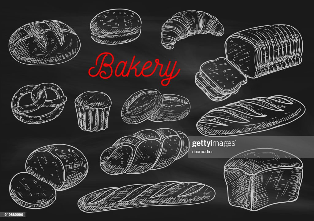 Bakery products chalk sketches on blackboard
