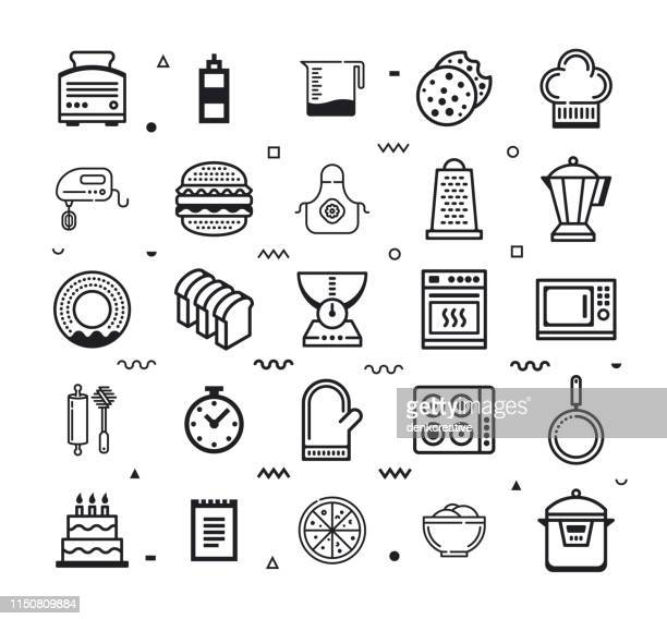 bakery products & confectionery line style vector icon set - bun bread stock illustrations, clip art, cartoons, & icons