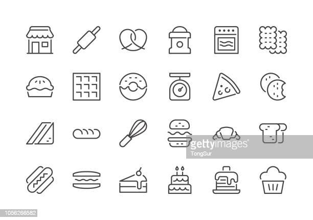 bakery - regular line icons - macaroon stock illustrations, clip art, cartoons, & icons
