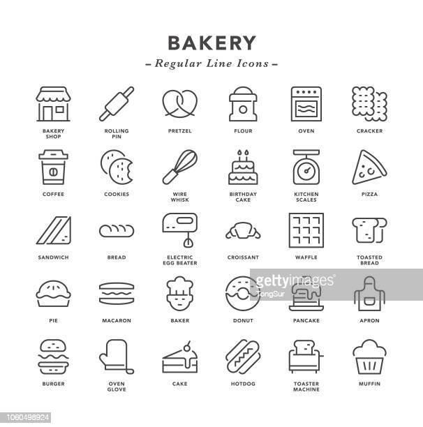 bakery - regular line icons - kitchen scale stock illustrations, clip art, cartoons, & icons