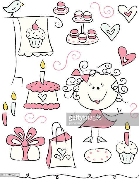 bakery sampler - making a cake stock illustrations, clip art, cartoons, & icons