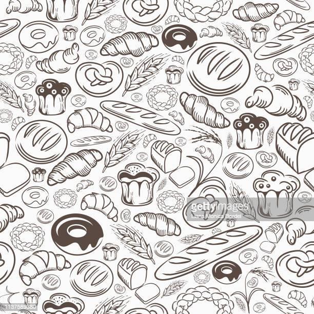 bakery seamless pattern - baked stock illustrations, clip art, cartoons, & icons