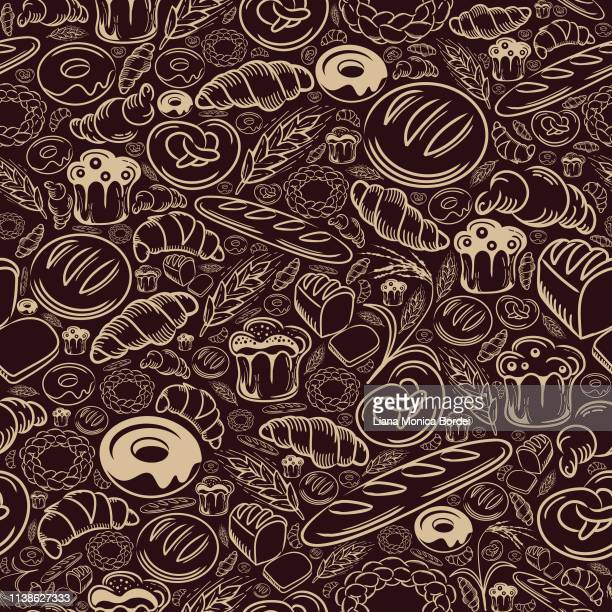 bakery seamless pattern - sweet bun stock illustrations, clip art, cartoons, & icons