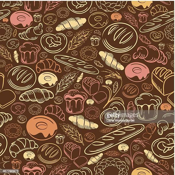 bakery seamless pattern - boulanger stock illustrations