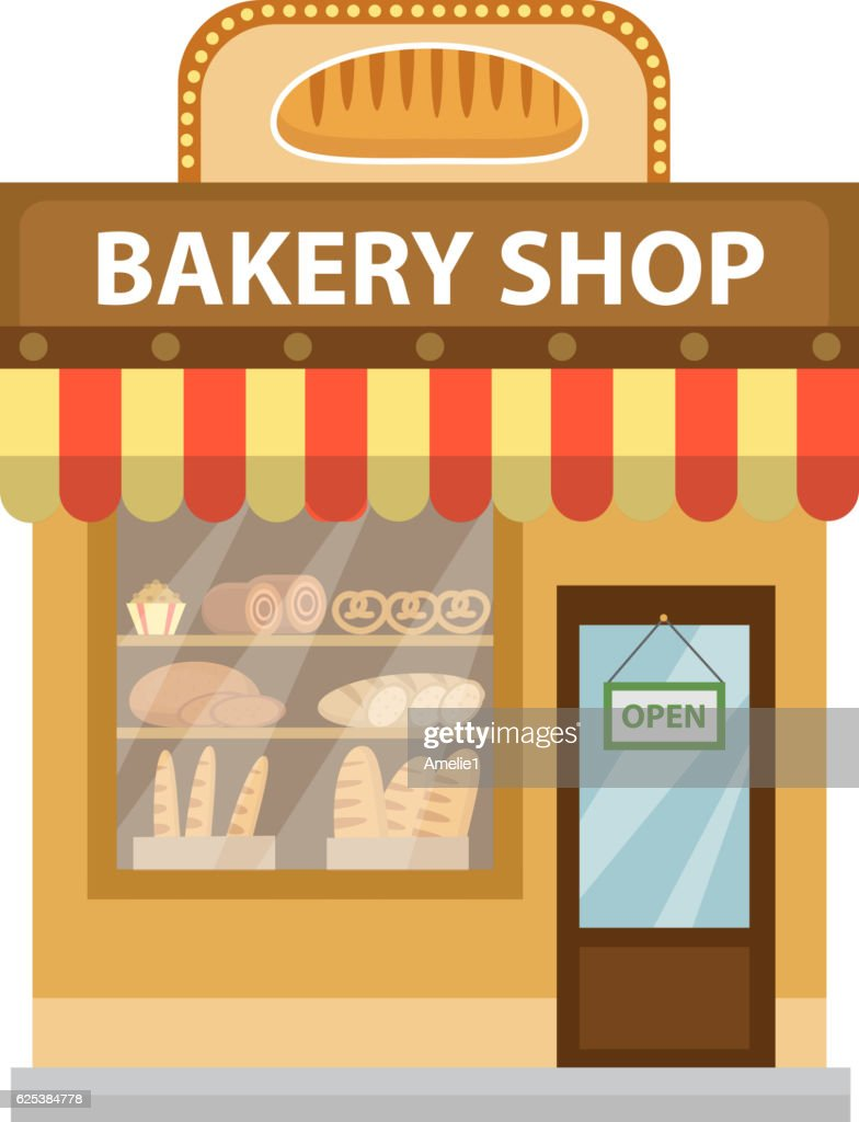 Bakery shop. Baking store building icon. Bread flat style. Showcases