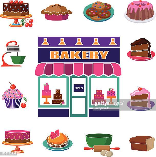 bakery shop with square baked goods and cooking equipment border - making a cake stock illustrations, clip art, cartoons, & icons
