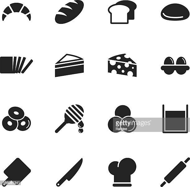 bakery silhouette icons - toast bread stock illustrations, clip art, cartoons, & icons