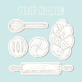 Bakery sticker collection with hand drawn food and culinary objects