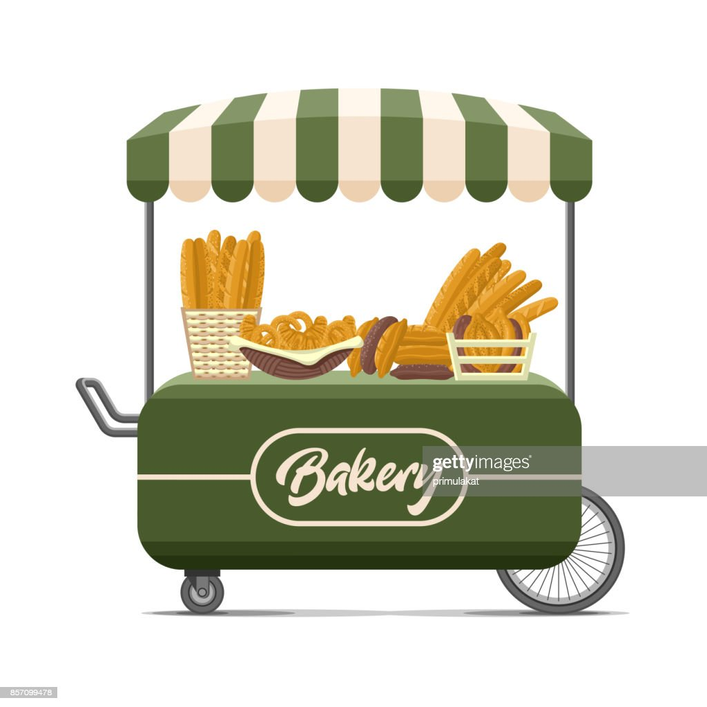 Bakery street food cart. Colorful vector image