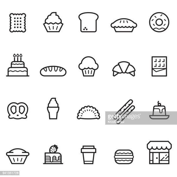 bakery thin line icons - sweet pie stock illustrations