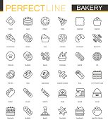 Bakery thin line web icons set. Pastry outline stroke icons design.