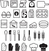 Bakery tool icons set. Vector illustration.