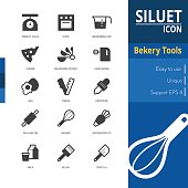 Bakery tools silhouette icon sets on white background.