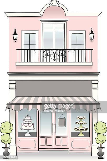bakery - awning stock illustrations, clip art, cartoons, & icons