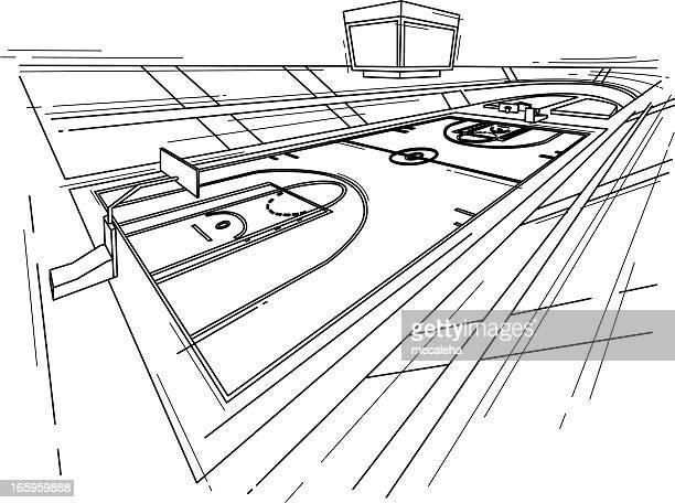 ilustraciones, imágenes clip art, dibujos animados e iconos de stock de baketball court - cancha de baloncesto