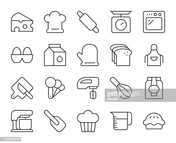 baking and bakery - light line icons - kitchen scale stock illustrations, clip art, cartoons, & icons