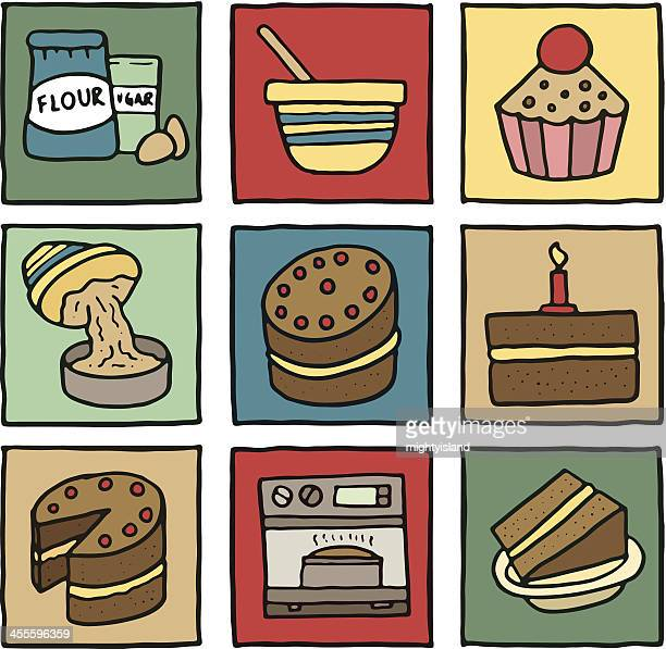 Baking and cakes block icons