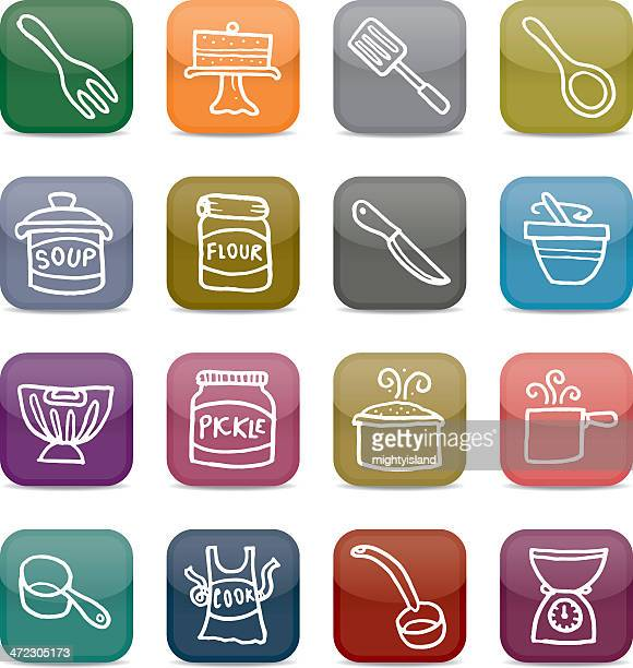 baking and cooking app style icon set - meat pie stock illustrations, clip art, cartoons, & icons