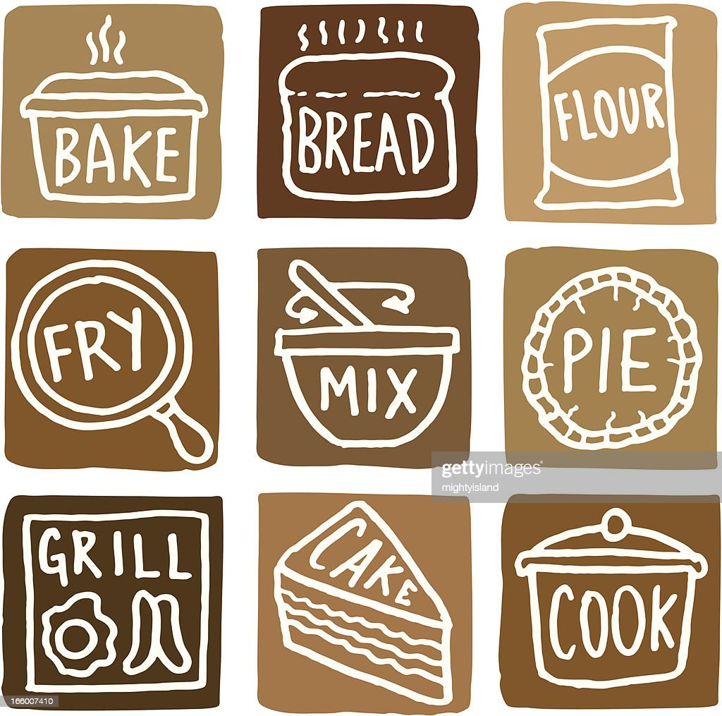 Baking and cooking icons block icon set : stock illustration