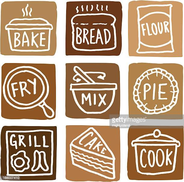 Baking and cooking icons block icon set