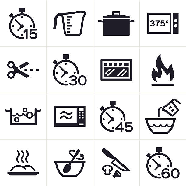 baking and cooking icons - frozen food stock illustrations