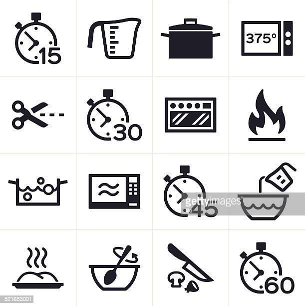 baking and cooking icons - temperature stock illustrations