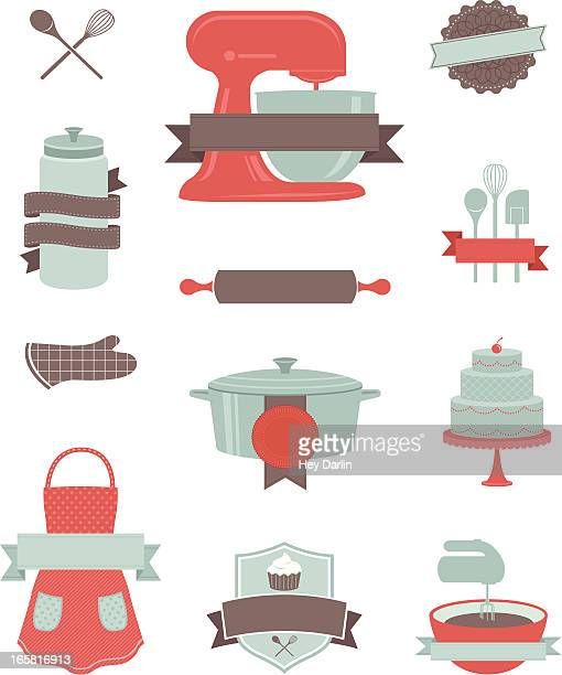 baking and kitchen design elements - baked stock illustrations, clip art, cartoons, & icons