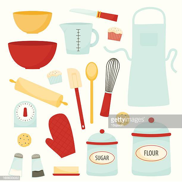 baking and kitchen equipment - making a cake stock illustrations, clip art, cartoons, & icons