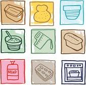Baking bread icons