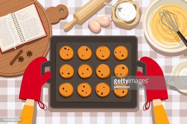 baking cookies - baked stock illustrations