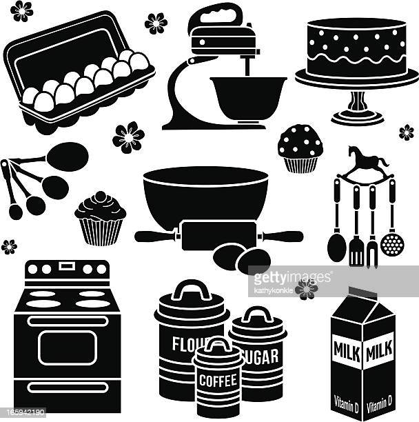 baking design elements - making a cake stock illustrations, clip art, cartoons, & icons