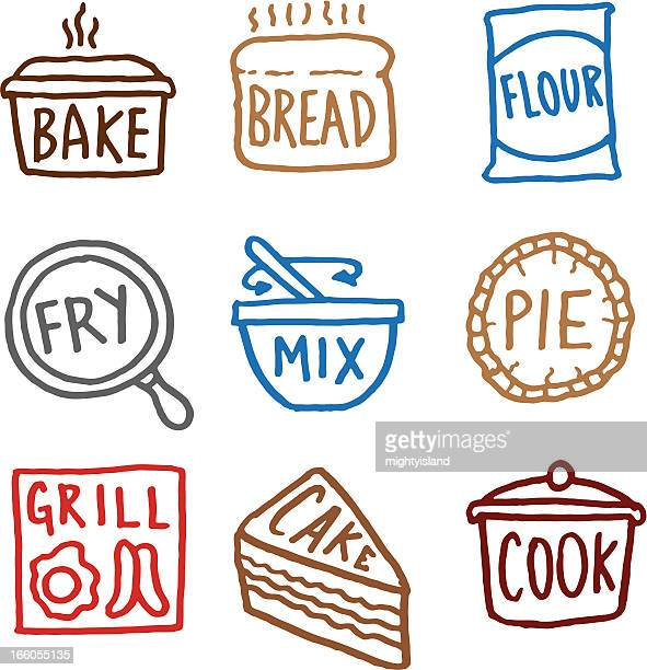 baking doodle icon set - making a cake stock illustrations, clip art, cartoons, & icons