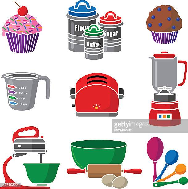 baking icons and kitchen equipment
