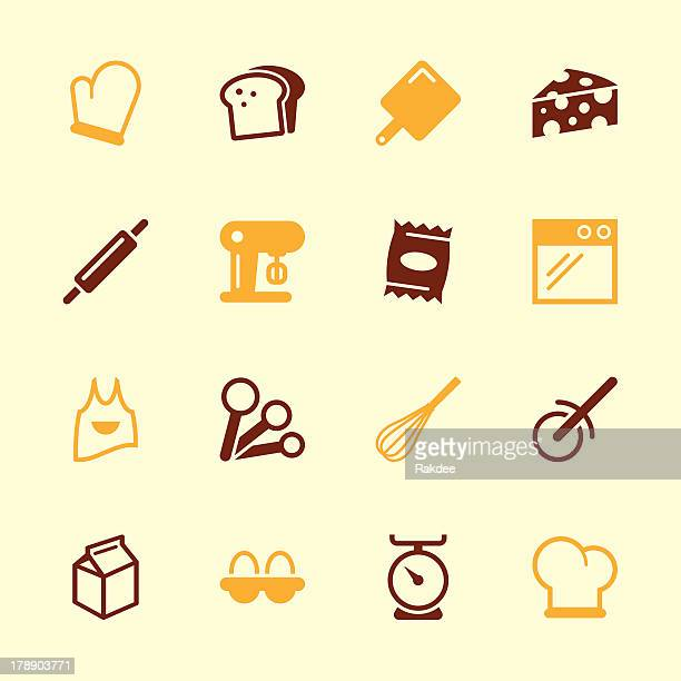 baking icons - color series | eps10 - kitchen scale stock illustrations, clip art, cartoons, & icons