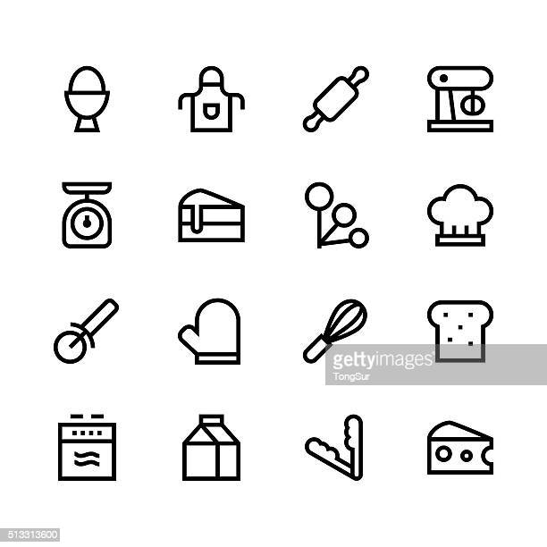baking icons - line - black series - making a cake stock illustrations, clip art, cartoons, & icons