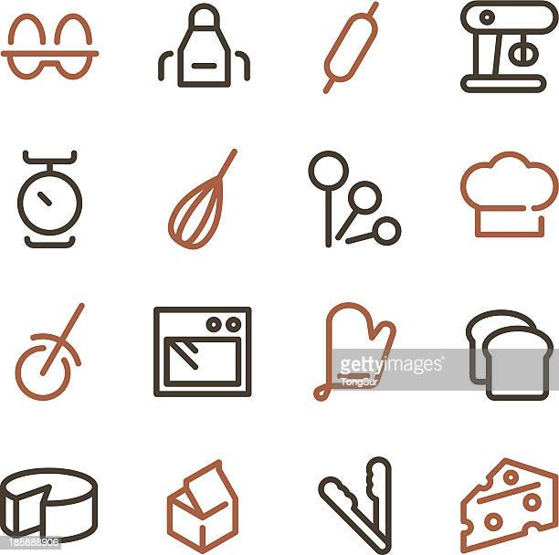 baking icons - line color series - baked stock illustrations, clip art, cartoons, & icons