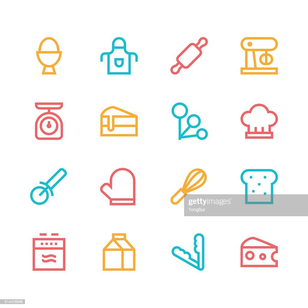 Baking icons - line - color series