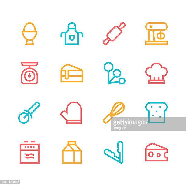 baking icons - line - color series - making a cake stock illustrations, clip art, cartoons, & icons