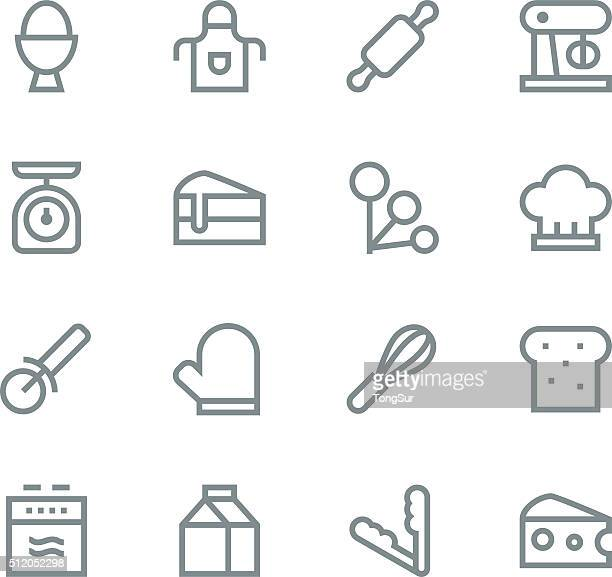 baking icons - line - making a cake stock illustrations, clip art, cartoons, & icons