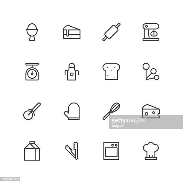 baking icons - kitchen scale stock illustrations, clip art, cartoons, & icons
